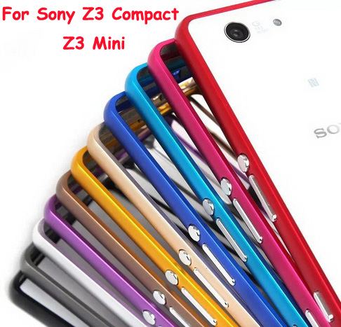 Z3 Compact Ultra Thin Hard Hippocampus Buckle Metal Aluminum Bumper Frame Case Capa For Sony Xperia Z3 Compact Z3 Mini M55W(China (Mainland))