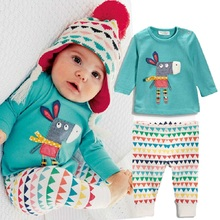 2015 Toddler Baby Girls Boy Long Sleeve Tops+Pants 2Pcs Outfits Set Nightwear Pyjamas(China (Mainland))