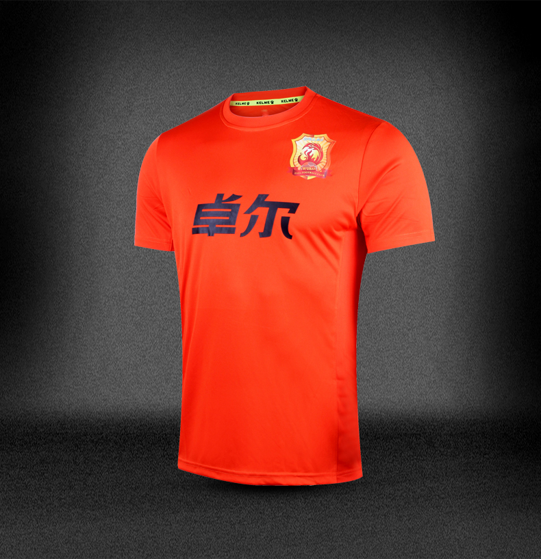 Top Thai 2015-16 China WUHAN ZULL F.C. Club soccer jerseys men Home Orange S-XL Football team short shirt Chinese Super League(China (Mainland))