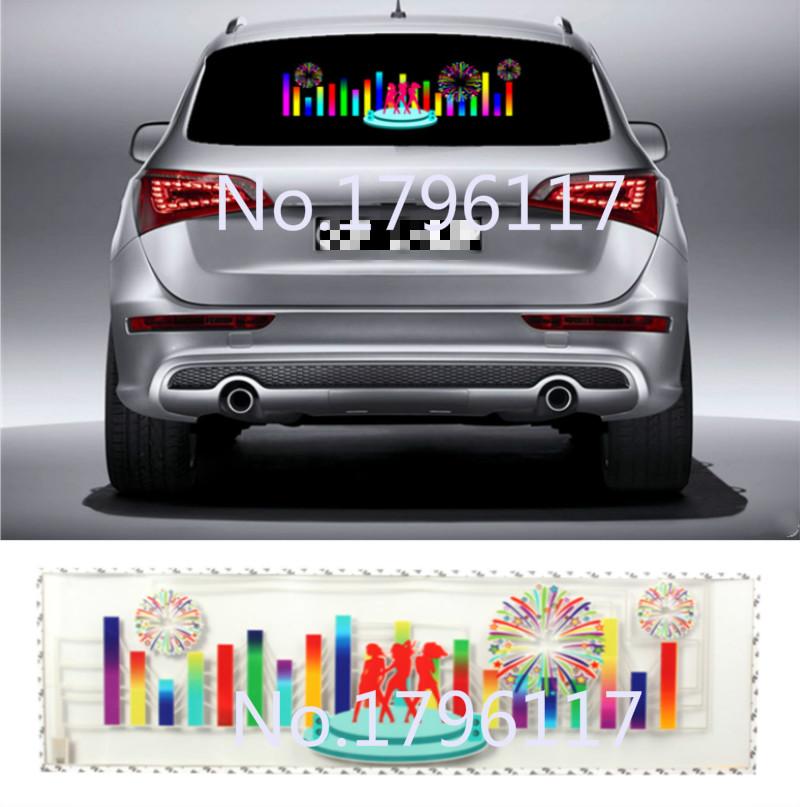 90x25cm Car Sticker Music Rhythm LED Flash Lamp Sound Activated Equalizer Car decration Sticker Glow Flash Panel LED car Light(China (Mainland))