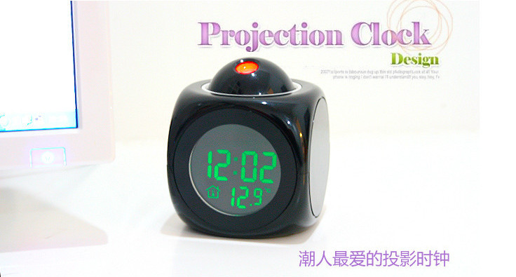 10pcs/lot Hot LCD Clock Talking Projection Voice Sound Controlled Alarm Clock HO106(Hong Kong)