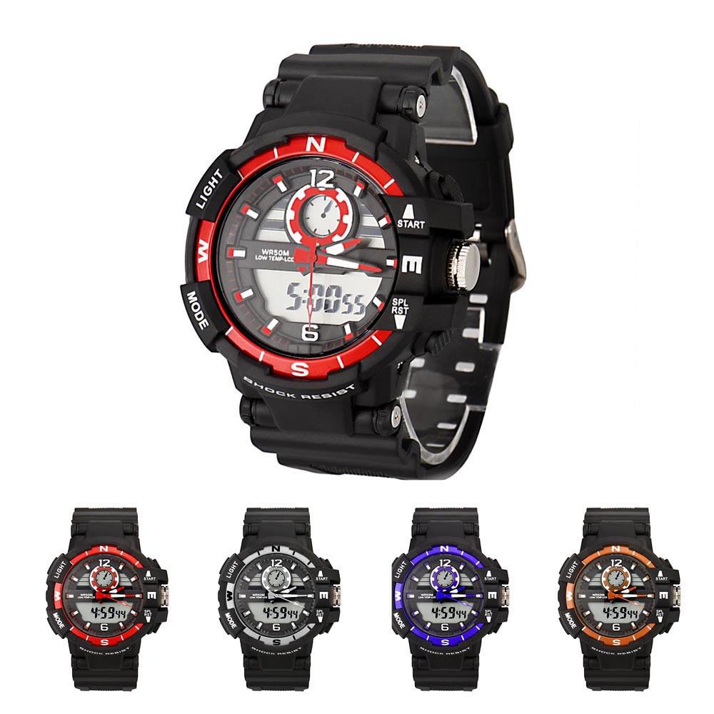 Models Fashion Really Casual Summer New Product 2016 New NeutralDigital LED Alarm Dual Display Waterproof Rubber Quartz Watch(China (Mainland))