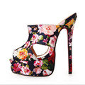New Brand Big Size 40 47 Peep Toe Sandals Floral Red Bottom Women Men High Heels