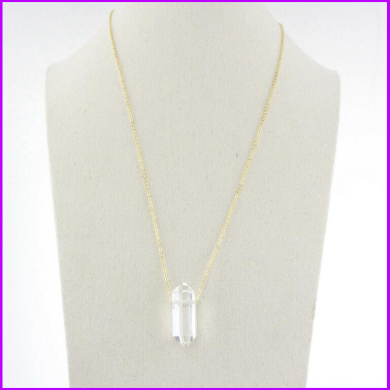 Famous Brand Forever Long Necklaces Crystal 21 Piont Bullet Stone White Black Gray 18 K Gold Plated Jewelry Pendants For Women(China (Mainland))