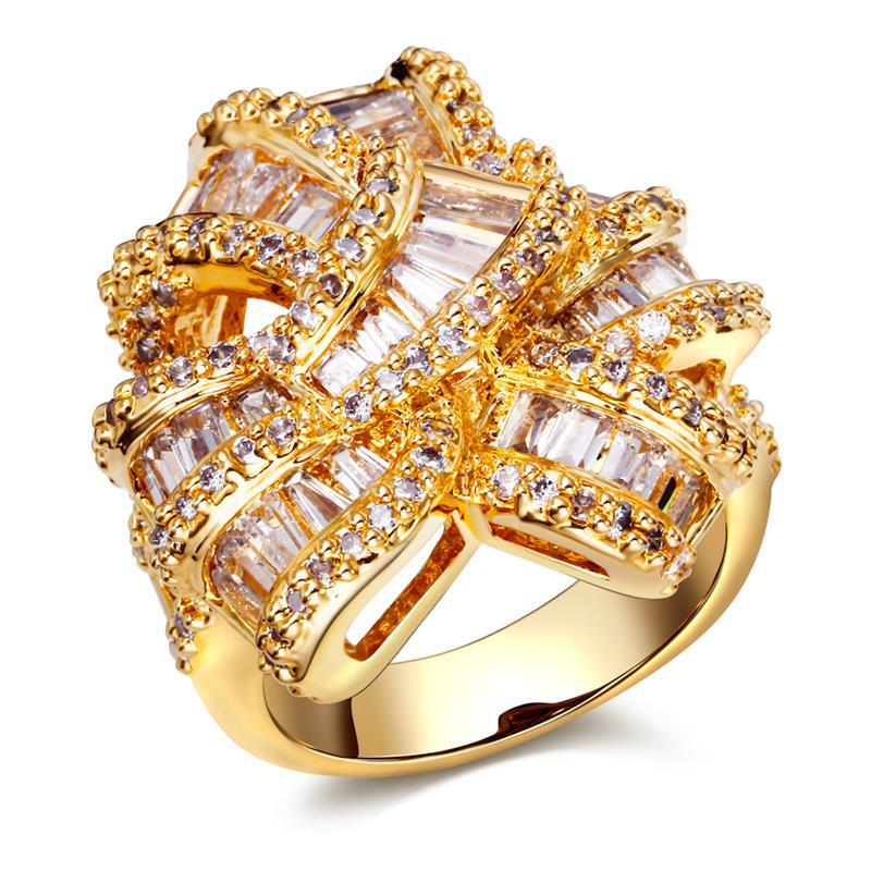 luxury women 39 s designer rings unique jewelry 18k gold plated micro