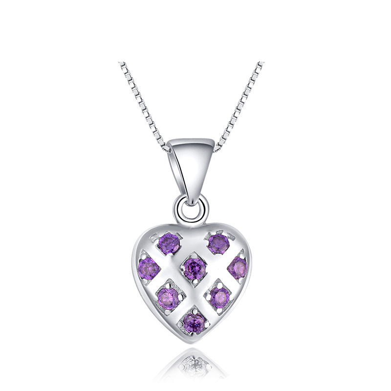 Elegant Women Gift Jewelry,925 Sterling Silver Zirconnia Stones Necklace Pendant Heart - LCC Fashion Jewelry & Accessory store