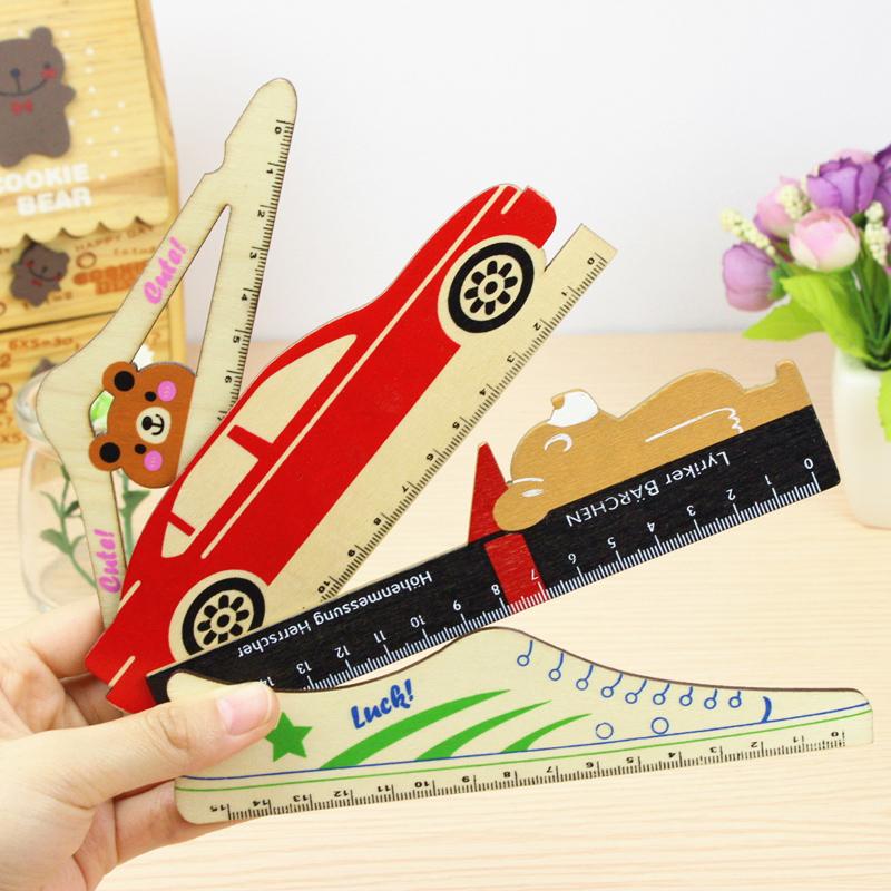 1Pcs New 15cm Cute Cartoon Rilakkuma Wooden Ruler Creative Bus Ruler For Kids Student Gift Korean Stationery Gift H2273