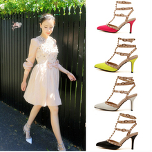 2015 USA Fashion Shoes Plus Size Pumps Women Sexy Pointed Toe High Heels Buckle Studded Sandals Sapato Feminino Shoes(China (Mainland))
