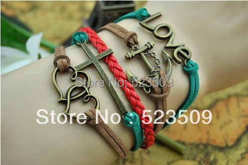!! Retro Love Anchor Double Heart Leather Cord Multi-layer Bracelet Fashion Jewelry S-220 - Forever Co.,LTD store