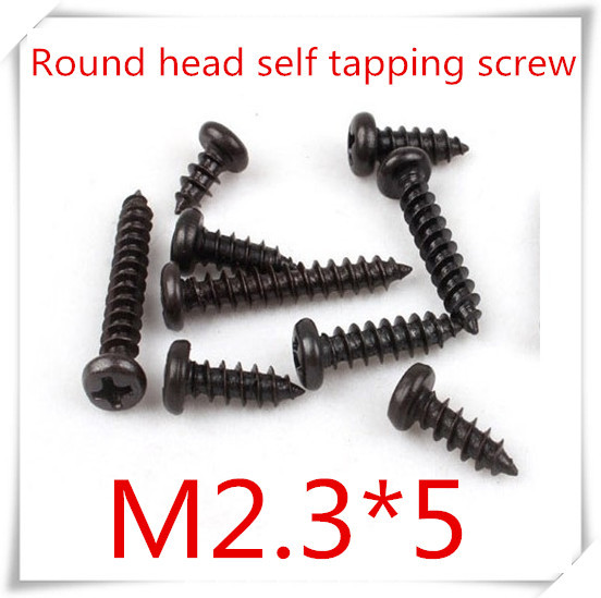 Гаджет  1000pcs/lot m2.3*5 black phillips round head self tapping screw None Аппаратные средства