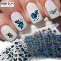 24pcs lot Nail Art Stickers Bluesky Metallic Butterfly Flower Design Malette Outil Fashion Nail Decals Unghie