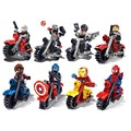 New Arrival 8pcs lot Super Hero Ride Motorcycle Minifigures Building Blocks Toy Kids Favorite Gifts