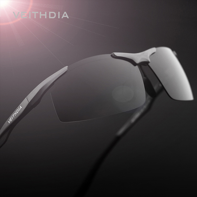 VEITHDIA Brand Aluminum Men's Polarized Sunglasses Rimless Rectangle Sun Glasses Male Eyewear Accessories For Men 6535(China (Mainland))