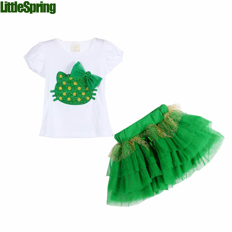 Retail Top selling! Girls clothing sets hello design girls tutu skirts clothing sets kids summer clothing free shipping(China (Mainland))