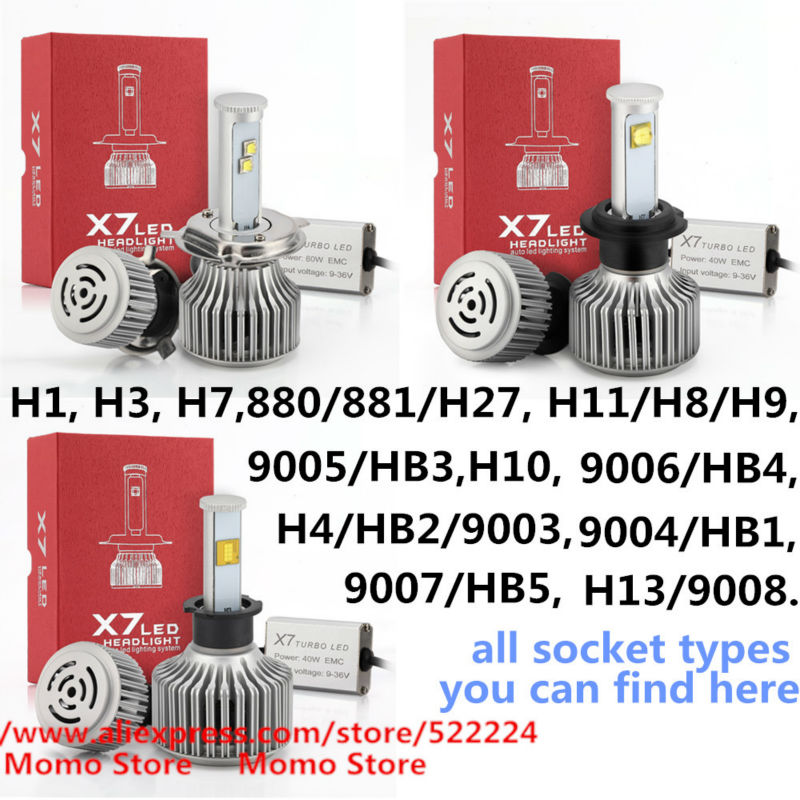Фотография 80W 7200lm Cree Car LED Headlight Kit H1 H3 H7 H9 H11 9005 HB3 9006 880, 120W 9600LM H4 9004 9007 H13 Replace Halogen& HID Bulbs