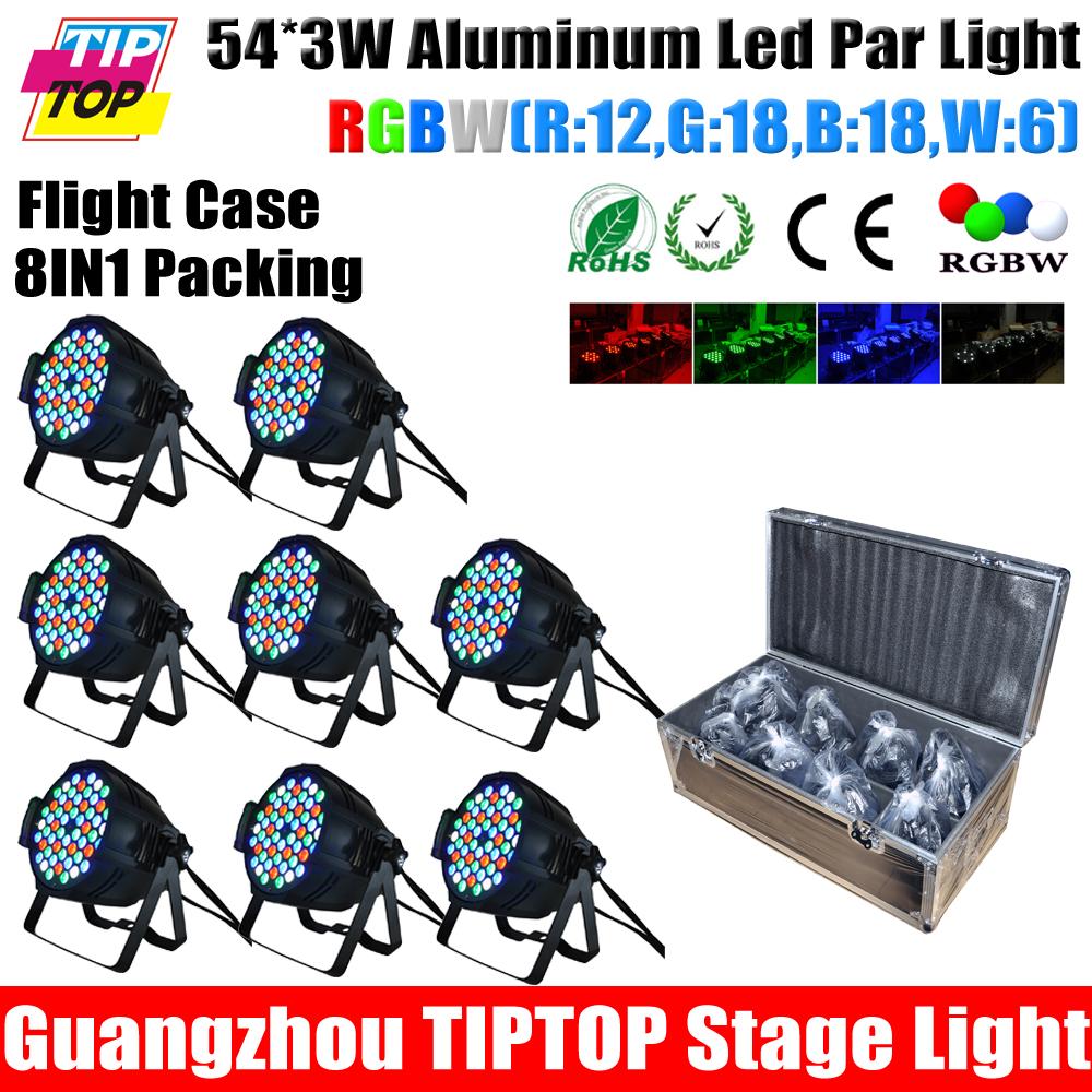 China Stage Light Supplier 8 Unit 54 x 3W RGBW 200W Led Par Light RGBW Color Aluminum Housing Customized Shockproof Flight Case(China (Mainland))