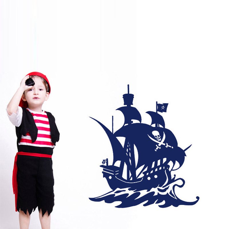 High Quality Hollow Out Pirate Ship Wall Sticker Children Bedroom Wall Decor Removable Vinyl Decals(China (Mainland))
