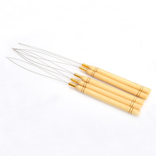 Fashion 5 Pcs Hair Extension Hook Pulling Tool Needle Threader Micro Rings Beads Loop Wooden Handle With Iron Wire Hotting HB88(China (Mainland))