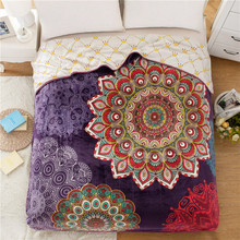 SunnyRain Indian Pattern Double-Faced Reversible Coral Fleece Blanket For Bed Adult Blankets Queen Size 200x230cm(China (Mainland))