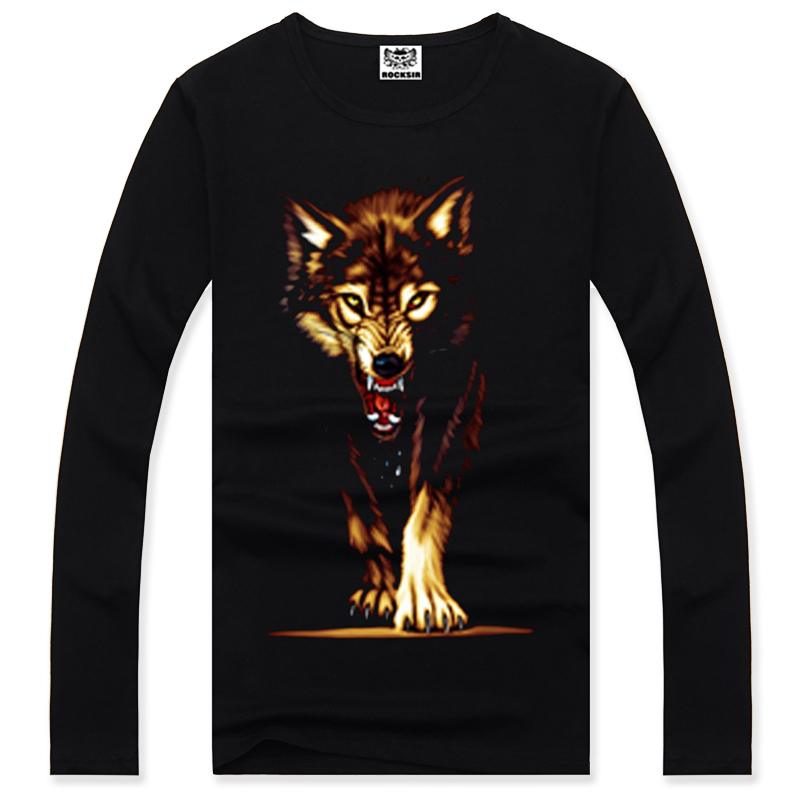 2015 One hundred percent cotton rock red Wolf feral crime 3 dt T-shirt hip-hop warm T-shirt free shipping of heavy metals(China (Mainland))