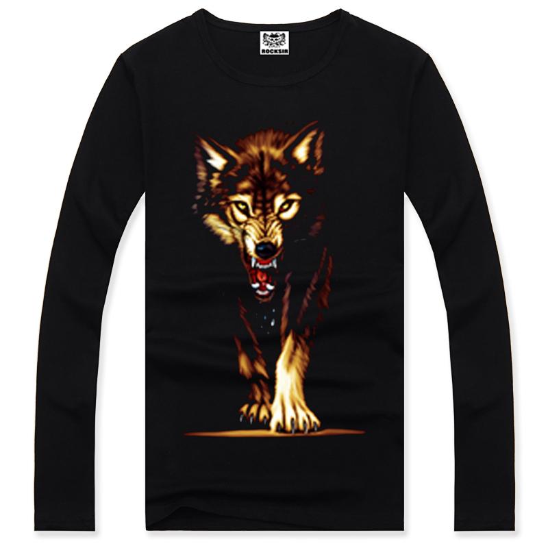 2015 winter Heavy Metal Rock men wolfs Long sleeve T shirt One hundred percent cotton T-shirtsweatshirt hip hop black tee shirts(China (Mainland))