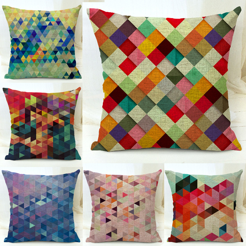 Fancy Throw Pillow Patterns : Cotton Blend Linen Decorative Throw Pillow Covers Colorful Geometric Diamond Pattern Sofa Seat ...