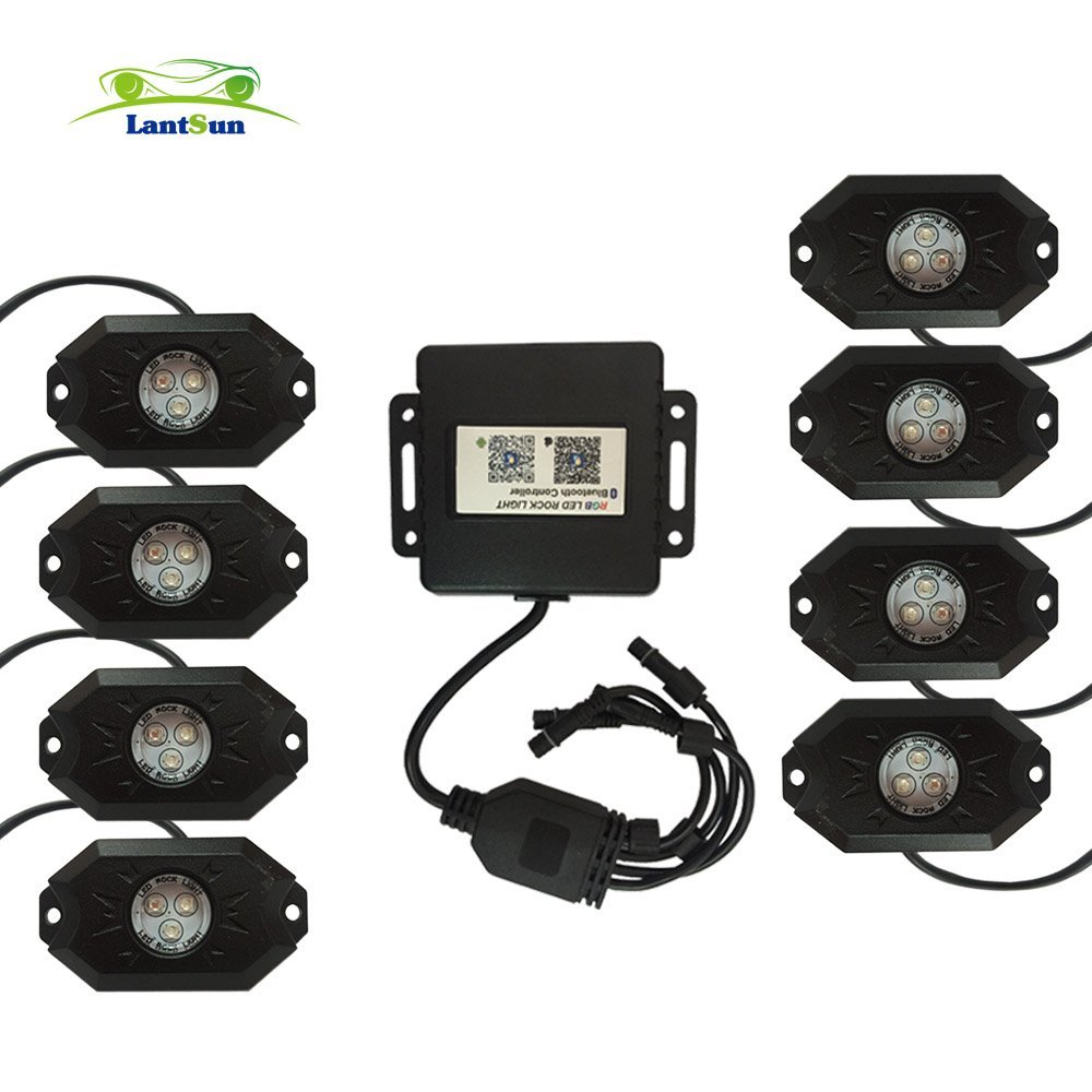 J143 Set Lantsun easy install 8 pods LED RGB rock lights decorate light Controlled by Cell App fits Jeep 4x4 4WD wrangler A4(China (Mainland))
