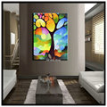 Vertical colorful modern tree of life decoraitive picture abstract handmade canvas oil painting set for living