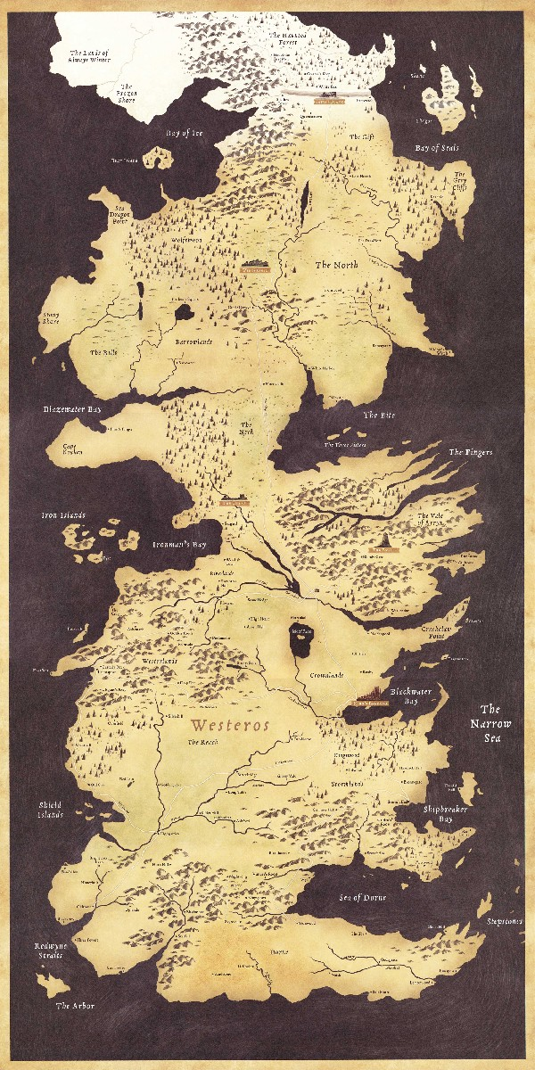 Game of Thrones World Map Westeros and Essos TV Poster Game poster high quality Fabric silk Picture printing Home Decor(China (Mainland))
