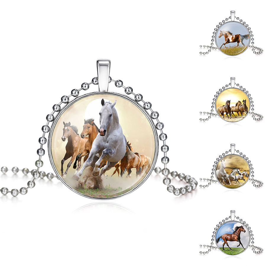 Girls Running Horse Painting Necklace Women Horse Necklace Pendant Statement Glass Cabochon Necklaces Jewelry Gift 620166(China (Mainland))