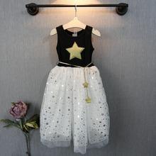 New arrival baby girls dress star printed with belt sleeveless yarn dress for girl kids clothing summer style for children