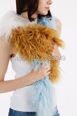 FS038 150*16 см Нескольких цветов мода марка шарф женщин натуральный мех шарф монголия овец меха