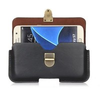 Genuine Leather Belt Clip Pouch Cover Case for Samsung Galaxy J1 Ace/J1 Duos/Ace 4/Star 2 Plus/Trend 3/Core Plus/R Style 4.3Inch