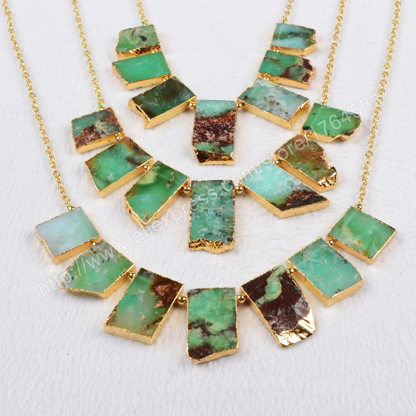 Gold Plated Natural Australia Jade Necklace Green Chalcedony Jade Jewelry Chain fashion druzy 401<br><br>Aliexpress