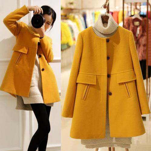Korean Fashion elegant winter long coat women long sleeve purple yellow wool coat high quality cashmere female overcoat abrigoОдежда и ак�е��уары<br><br><br>Aliexpress
