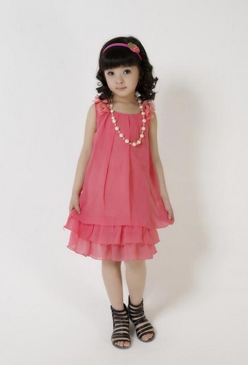 2015 Summer Chiffon Kids Lace Dress Girl's A-Line  Bowknot Wedding Dress Beading Necklace Princess Dress 3 Colors GD001
