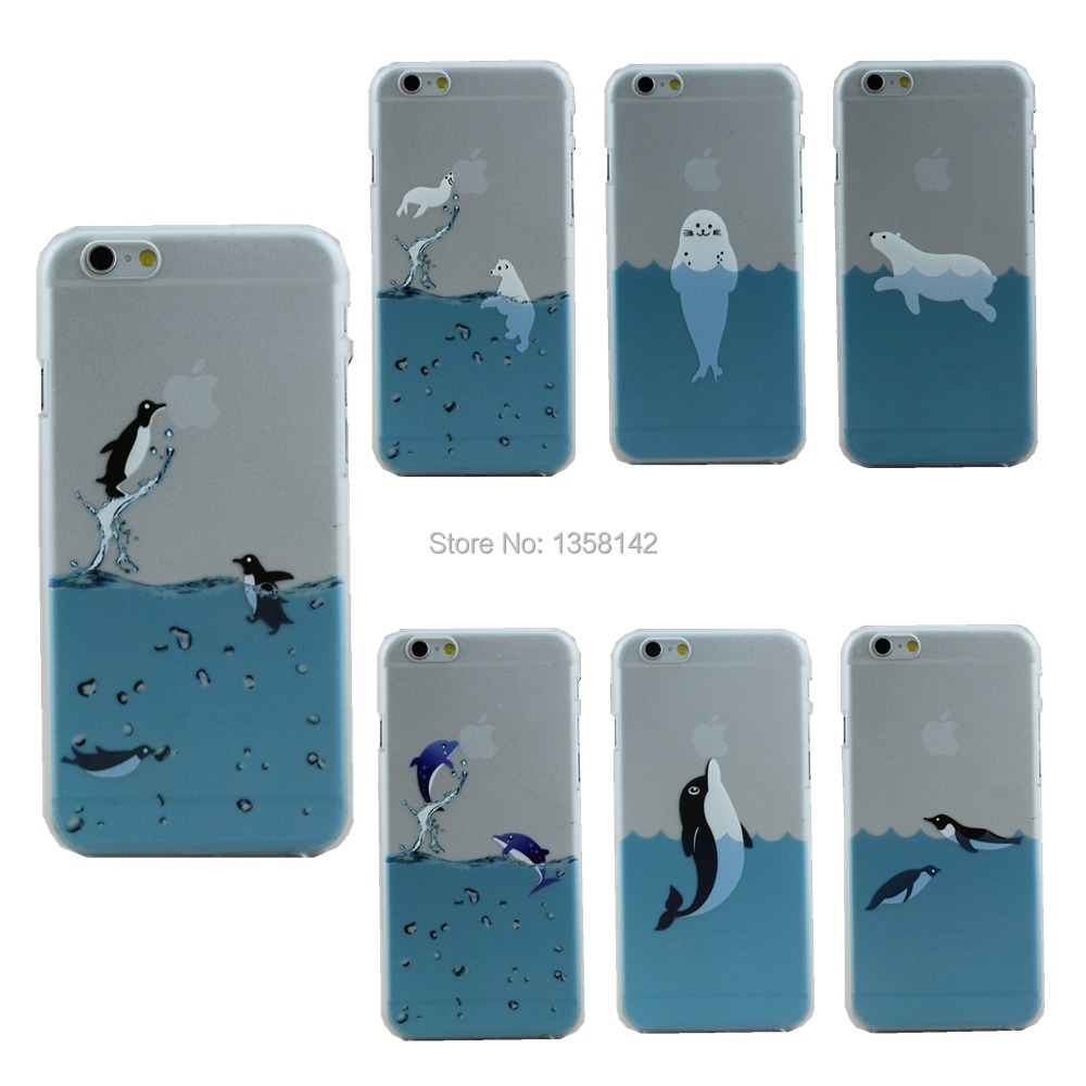 New Cute Designer Fashion Brand Case Cover For Apple iPhone 6 Plus 6S Plus 5.5 inch Dolphins Hand grasp the logo(China (Mainland))