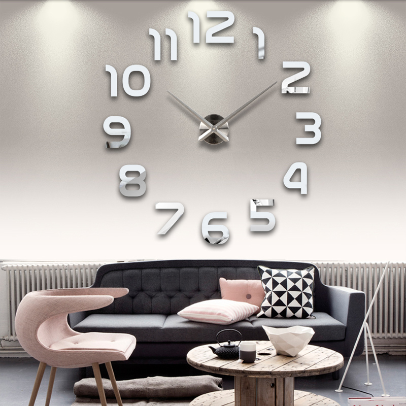2015 new clock watch wall clocks horloge 3d diy acrylic mirror Stickers Home Decoration Living Room Quartz Needle free shipping(China (Mainland))