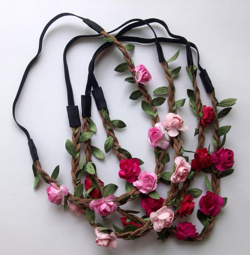Wholesale price Bohemian Headband ROSE Flower Braided Leather Elastic Headwrap hairband Hair bridal headbands paper flowers(China (Mainland))