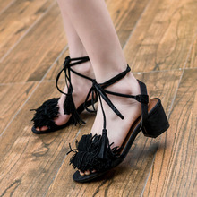 2016 Lady Casual Lace-Up dress party shoes Pop stars same design sexy Tassel women sandals high heels pumps sandals women z61(China (Mainland))