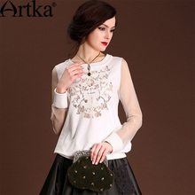 Artka Women's High-end Solid Color Cotton Blouse Elegent Perforated  Embroidery Patchwork All-match Blouse VA10049C(China (Mainland))