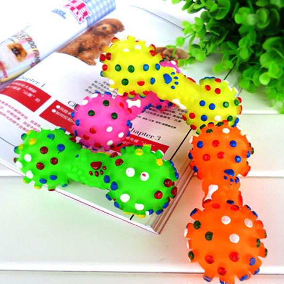 New Colorful Dotted Dumbbell Shaped Squeeze Squeaky Faux Bone Pet Dog Toys E5M1(China (Mainland))