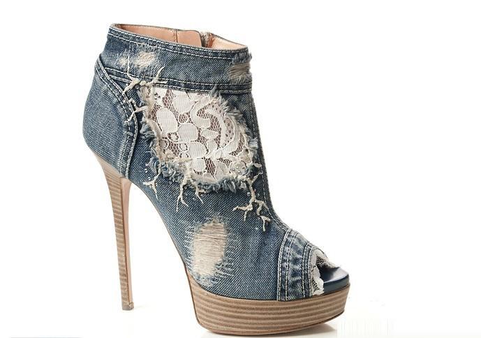 2015 spring blue denim lace printing flowers peep toe sandal boots platform fashion ankle boots ...