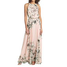 Buy 2017 Sexy Women Chiffon Long Dress Floral Print Round Neck Sleeveless Party Dresses Boho Maxi Dress Pink Summer Beach Sundress for $8.92 in AliExpress store