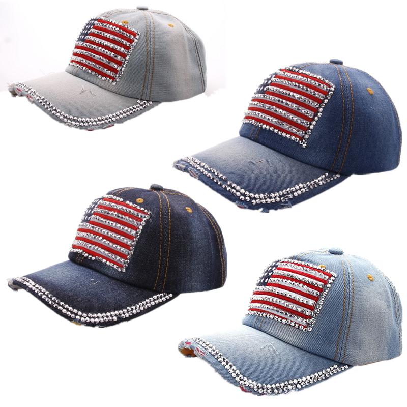 Flag stickers Rhinestone Baseball cap Sports Hat cap canvas Snapback caps hat Men Women good quality(China (Mainland))