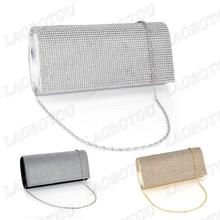 Shimmering Diamante Sera Pochette borsa sacchetto di Cerimonia Nuziale Del Partito Argento Oro Nero(China (Mainland))