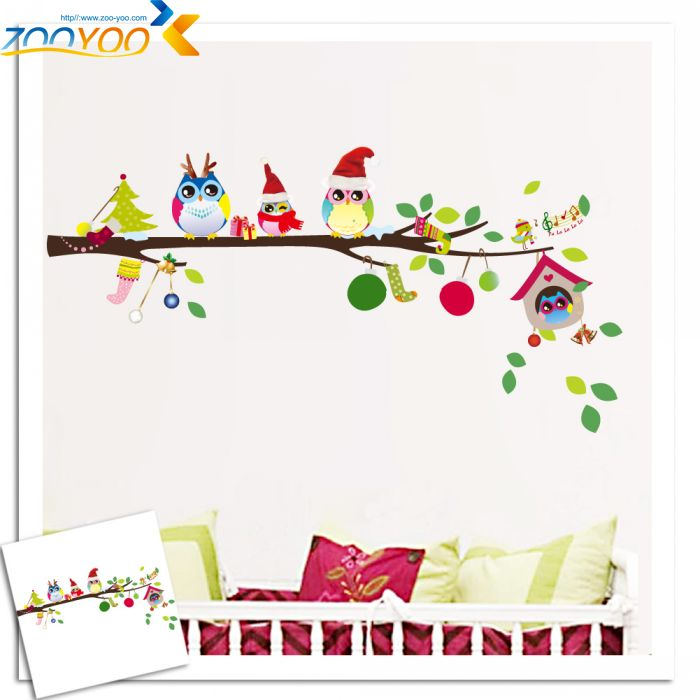 wise owls on colorful tree wall stickers for kids rooms 1013 decorative removable pvc wall decal christmas decoration(China (Mainland))
