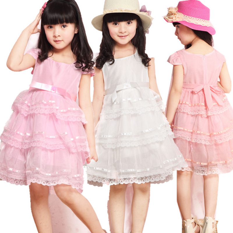2015 New Children Lace Cake Dress Lovely Solid Dress Clothes Casual Sleeveless Princess Baby Girl Childrens Dresses Clothing<br><br>Aliexpress