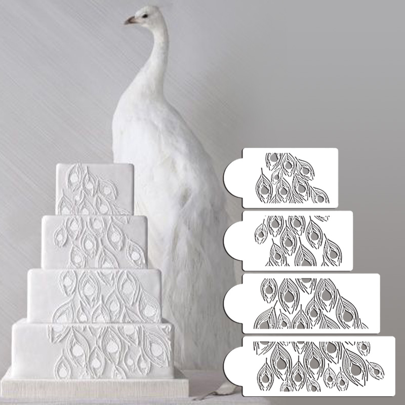 Peacock Cake Stencil Set, Cake Side Stencil, Stencil for cake decorating, Fondant Molds Cake Tools Wall Stencil ST-425(China (Mainland))