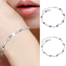 Women 925  Crystal Bamboo Chain Bracelet Fashion Jewelry  NEW !(China (Mainland))